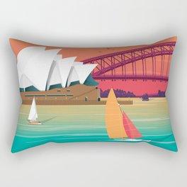 Sydney Australia Travel Poster City Illustration Rectangular Pillow