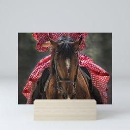 Woman Horseback Rider in Spanish Dress Mini Art Print