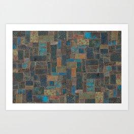Blue Patina Patchwork 1 Art Print