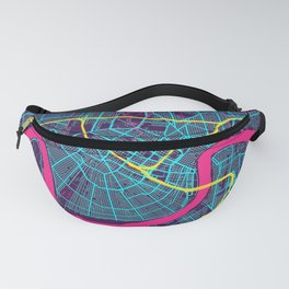 New Orleans Neon City Map, New Orleans Minimalist City Map Fanny Pack