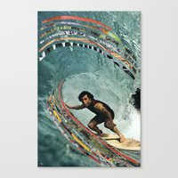 surfing Canvas Prints featuring Surfing by Ben Giles