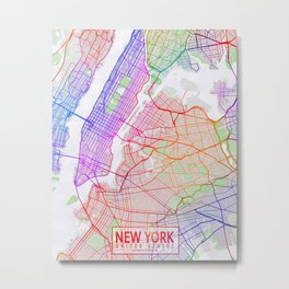 New York City Map of the United States - Colorful Metal Print