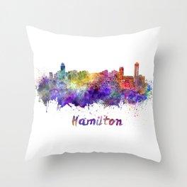 Hamilton skyline in watercolor Throw Pillow