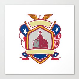 Texas Warship Lone Star Flag Crest Icon Canvas Print