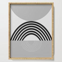 Black Gray White Sun Arch Balance #1 #minimal #abstract #art #society6 Serving Tray