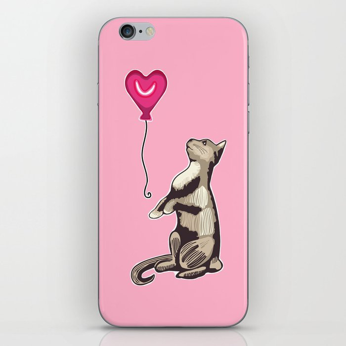 Cat with a Heart Balloon Illustration iPhone Skin