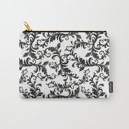 Vintage stylish black white elegant floral damask Carry-All Pouch