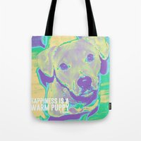 kobe Tote Bags featuring Happiness: Pitbull (Dog)  by PupKat