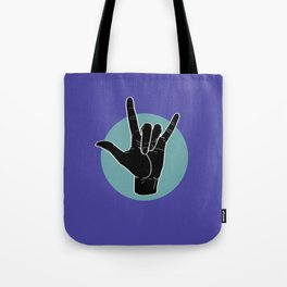 ILY - I Love You - Sign Language - Black on Green Blue 02 Tote Bag