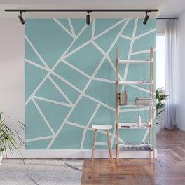 Light grayish cyanide geometric motif with lines Wall Mural