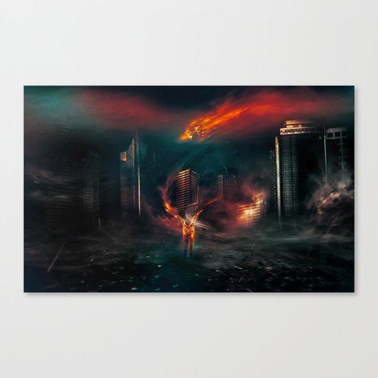 city on fire Canvas Print