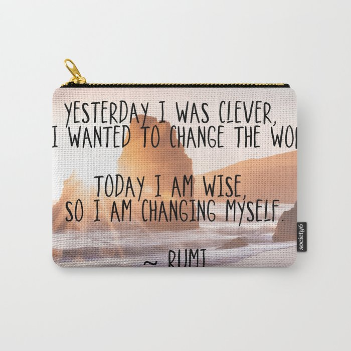 Motivational Rumi Quotation Yesterday I Was Clever Quote Art Carry