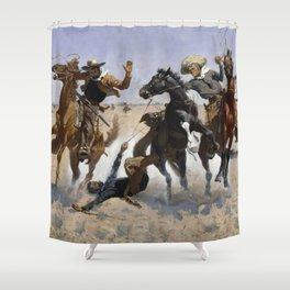 Frederic Remington Aiding a Comrade 1890 Shower Curtain