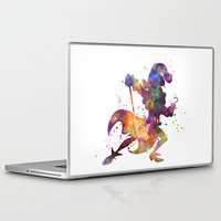captain hook Laptop & iPad Skins featuring Captain Hook in watercolor by Paulrommer