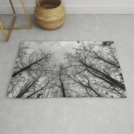 Creepy woods, black and white Rug