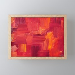 Fiery, Vibrant Oil Painting. Passionate Bright Red and Orange Abstract Art.  Framed Mini Art Print