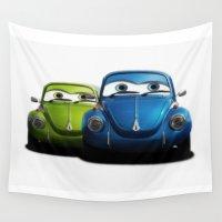 volkswagen Wall Tapestries featuring Volkswagen beetle by cjsphotos