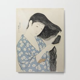 Hashiguchi Goyo: Woman Combing Her Hair Japanese Woodblock Print Blue Floral Kimono Black Hair Metal Print