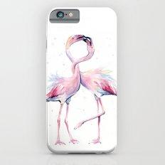 Two Flamingos Watercolor Flamingo Love iPhone 6s Slim Case
