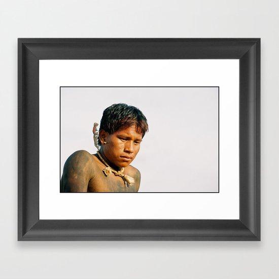 A'uwe Uptabi (True Xavante) Indigenous Warrior Framed Art Print