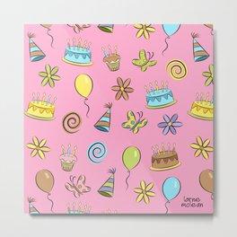 """Birthday"" (Pink) Metal Print"