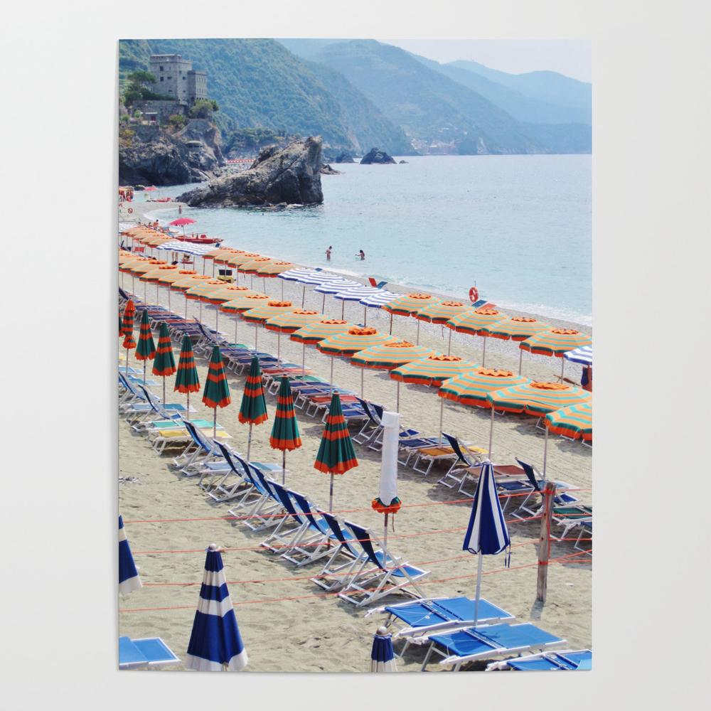 Cinque Terre Beach Parasols Poster by poppyshome (POS6869923) photo