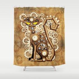 Steampunk Cat Vintage Style Shower Curtain