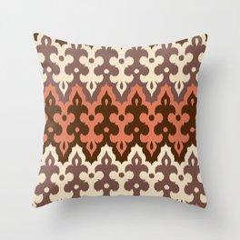 Moroccan Ikat Damask, Brown, Cream Taupe & Rust Throw Pillow