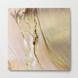 Blush Gold Alcohol Ink Abstract 2 Metal Print