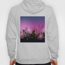 City silhouettes of different colors on red Hoody