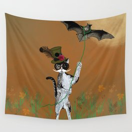 Cat Walking His Bat Wall Tapestry