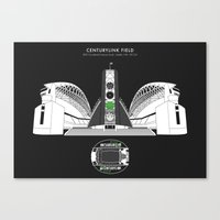 seahawks Canvas Prints featuring CENTURYLINK FIELD - Seahawks - Seattle Sounders  by Dick Smith Designs