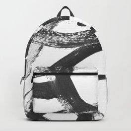 Interlock black and white paint swirls Backpack