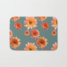 Coral Mum Floral Pattern - Scattered Flowers on Teal - Chrysanthemum Bloom Pattern - Real Flowers Bath Mat
