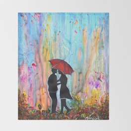A Rainy Date romantic painting giftart Throw Blanket