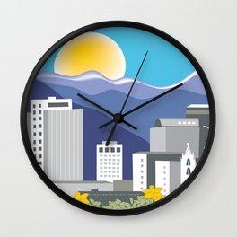 Salt Lake City, Utah - Skyline Illustration by Loose Petals Wall Clock