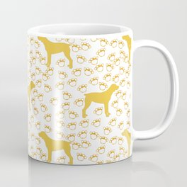 Big Yellow Dog and Paw Prints Coffee Mug