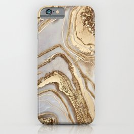 Gold marble texture iPhone Case