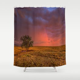 Fire Within - Red Sky and Rainbow Over Lone Tree on Great Plains Shower Curtain