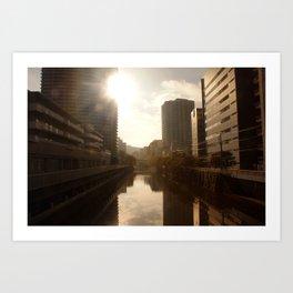 Street Scene Morning Channel Tokyo Art Print