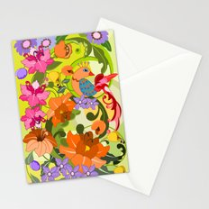 Trendy Damask Flowers & a tropical Bird Stationery Cards