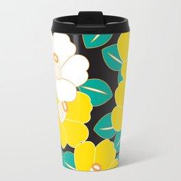 Japanese Style Camellia - Yellow and Black Travel Mug