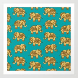 Elephant Pattern Art Print