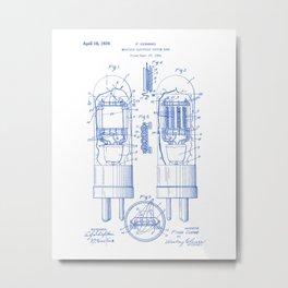 Multiple Electrode Vacuum Tube Vintage Patent Hand Drawing Metal Print