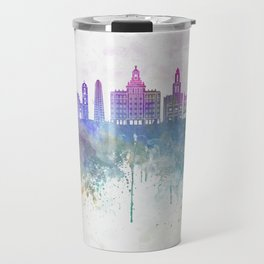 Havana V2  skyline in watercolor background Travel Mug