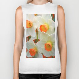 WHITE-GOLD NARCISSUS FLOWERS BLUE-BROWN Biker Tank