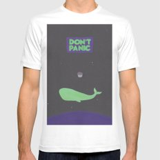 Don't Panic MEDIUM White Mens Fitted Tee