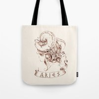 aries Tote Bags featuring Aries by Morgan Ofsharick - meoillustration