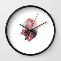 in the flesh Wall Clocks featuring Flesh by Cut and Paste Lady