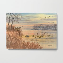 Retrieving The First Downed Duck Metal Print